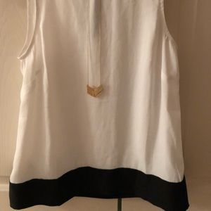 LOFT White And Black Tank With Tie